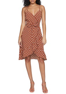 Sanctuary Bianca Polka Dot Faux Wrap Minidress