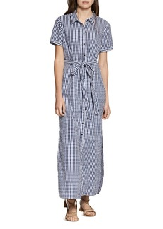 Sanctuary Blue Dawn Gingham Maxi Shirt Dress
