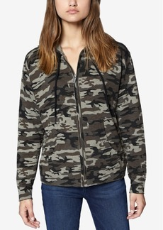 Sanctuary Camo-Print Zip-Front Hooded Sweatshirt