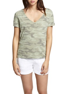 Sanctuary Camo Twist Sleeve Cotton Blend Tee