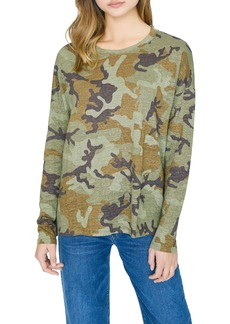 Sanctuary Carlee Camo Long Sleeve Linen Tee (Regular & Petite)