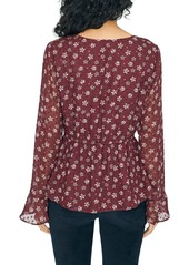 Sanctuary Carried Away Floral Clip Dot Peplum Blouse (Regular & Petite)