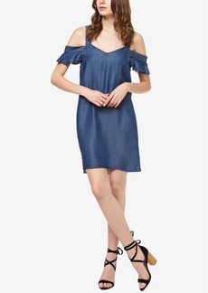 Sanctuary Chambray Off-The-Shoulder Dress