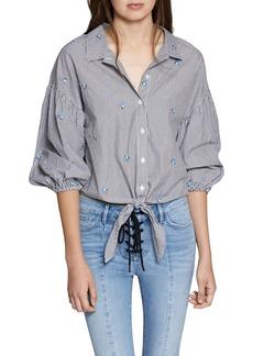 Sanctuary Clover Tie Front Cotton Shirt