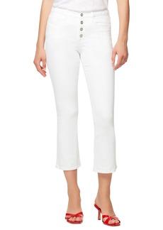 Sanctuary Connector High Waist Button Fly Kick Crop Jeans (White Jasmine)