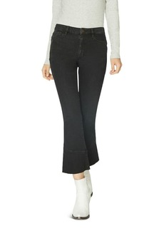 Sanctuary Connector Kick Crop Flared Jeans in Noir Black
