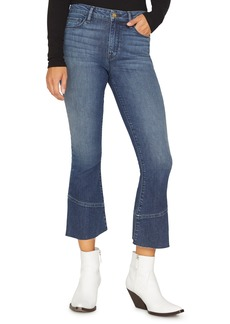 Sanctuary Connector Kick Crop Raw Edge Jeans (District Blue)