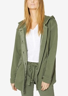 Sanctuary Cotton Button-Front Hooded Jacket