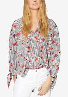 Sanctuary Cotton Mixed-Print Tie-Cuff Blouse