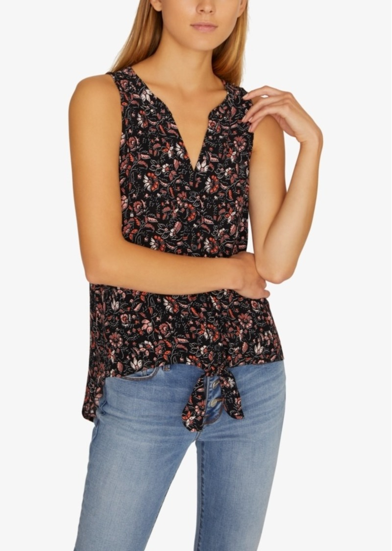 Sanctuary Craft Tie-Front Printed Sleeveless Shirt