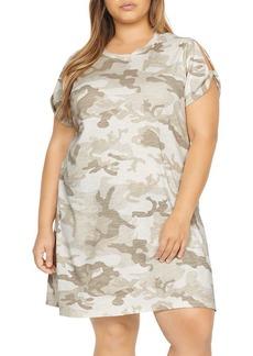 Sanctuary Curve Camo Print Split-Sleeve Dress