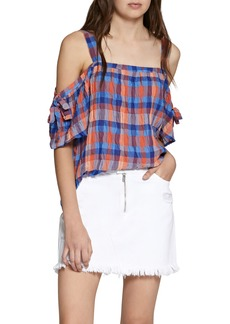 Sanctuary Dawn Off the Shoulder Check Blouse