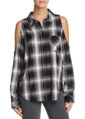 Sanctuary Delaney Cold Shoulder Plaid Shirt