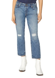 Sanctuary Disrupt Rip & Repair Crop Jeans in Flat Iron