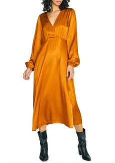 Sanctuary Earth Bound Textured Dot Long Sleeve Midi Dress