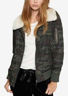 Sanctuary Faux-Fur-Trim Camo-Print Bomber Jacket