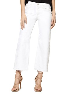 Sanctuary Flare Crop Released Hem Jeans in White