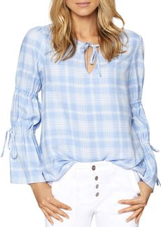 Sanctuary Flora Plaid Tie-Detail Blouse