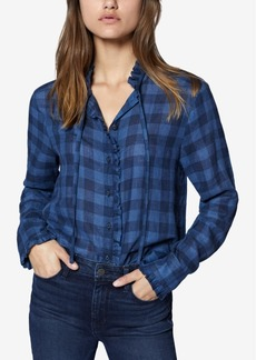 Sanctuary Greyson Checkered Tie-Neck Blouse