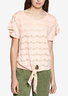 Sanctuary Hayden Cotton Tie-Hem Eyelet T-Shirt