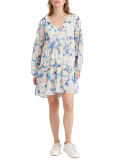 Sanctuary Imagine Abstract Floral Long Sleeve Babydoll Dress