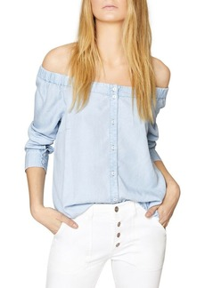 Sanctuary In Bloom Off-Shoulder Button-Down Top