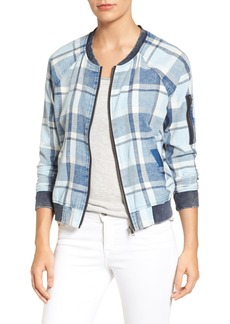 Sanctuary Indigo Plaid Denim Bomber