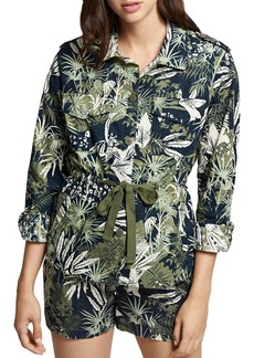 Sanctuary Island Fever Botanical-Print Eyelet Jacket