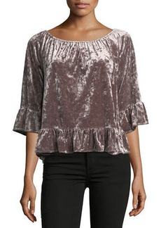 Sanctuary Julia Velvet Ruffle-Hem Top