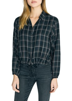 Sanctuary Just My Type Plaid Tie Front Long Sleeve Shirt (Regular & Petite)