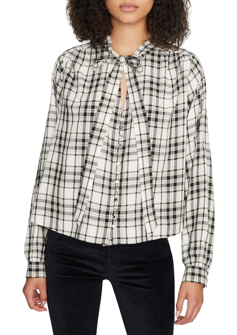 Sanctuary Kiera Tie Neck Plaid Top