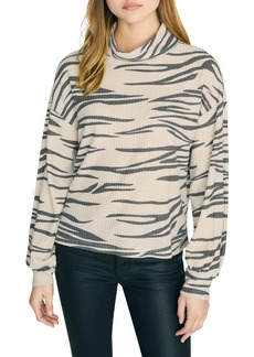 Sanctuary Klara Zebra Print Waffle Knit Turtleneck (Regular & Petite)