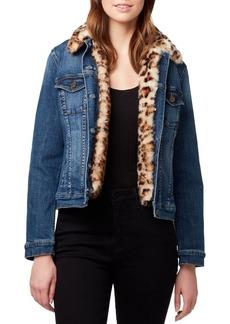 Sanctuary Kylie Leopard-Print Faux Fur Denim Jacket