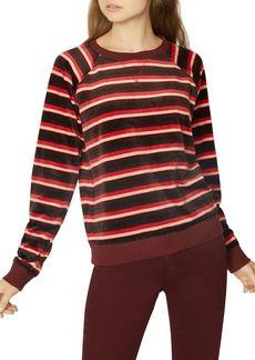 Sanctuary La Brea Striped Velour Sweatshirt