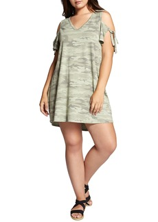 Sanctuary Lakeside Camo Cold Shoulder T-Shirt Dress (Plus Size)