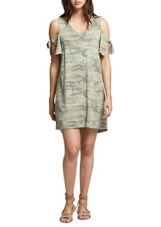 Sanctuary Lakeside Camouflage Cold-Shoulder Cotton Dress