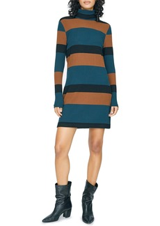 Sanctuary Larissa Stripe Long Sleeve Turtleneck Rib Dress (Regular & Petite)