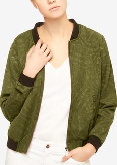 Sanctuary Leaf-Print Denim Bomber Jacket