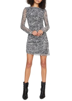 Sanctuary Let's Party Zebra Stripe Long Sleeve Mesh Dress
