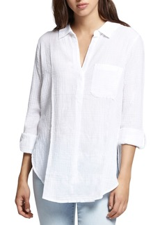 Sanctuary Linen Blend Gauze Tunic Top