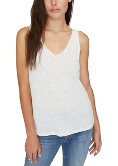 Sanctuary Linn Linen Crochet-Trim Tank Top