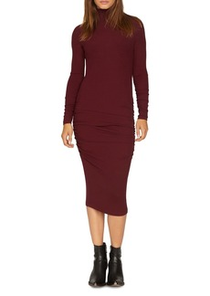 Sanctuary Long-Sleeve Ruched Midi Dress