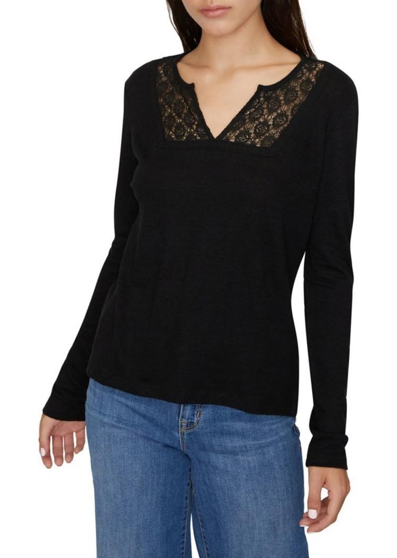 Sanctuary Lora Crochet-Trimmed Linen & Cotton-Blend Tee