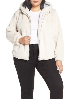 Sanctuary Luv the Nightlife Faux Fur Hooded Jacket (Plus Size)