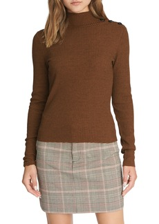 Sanctuary Mandy Button Detail Mock Turtleneck Sweater (Regular & Petite)