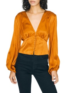 Sanctuary Mercury Rising Satin Jacquard Long Sleeve Top (Regular & Petite)