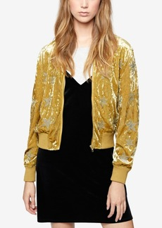 Sanctuary Metallic-Embroidered Velvet Bomber Jacket