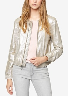 Sanctuary Metallic Leather Bomber Jacket