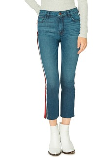 Sanctuary Modern High Rise Varsity Stripe Raw Edge Jeans (District Blue)