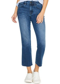 Sanctuary Modern Standard High Waist Raw Hem Straight Leg Jeans (Elsinore Blue)